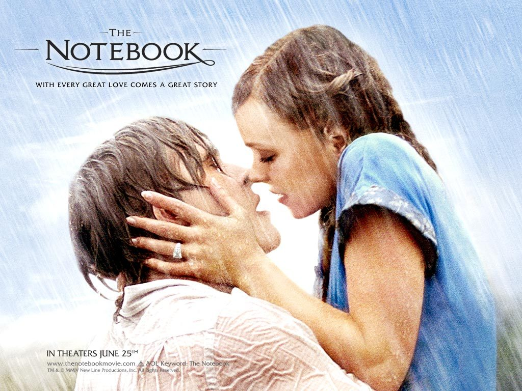 kiss, love, rain, ryan gosling, the notebook