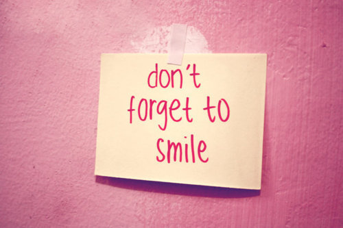 pink, post it, smile and text
