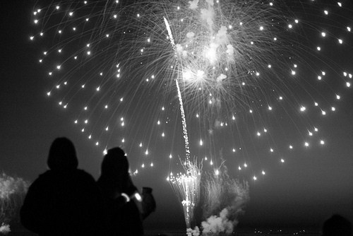 2012, b&w, black & white, black and white, cute, firework, landscape, light, lights, new year, place