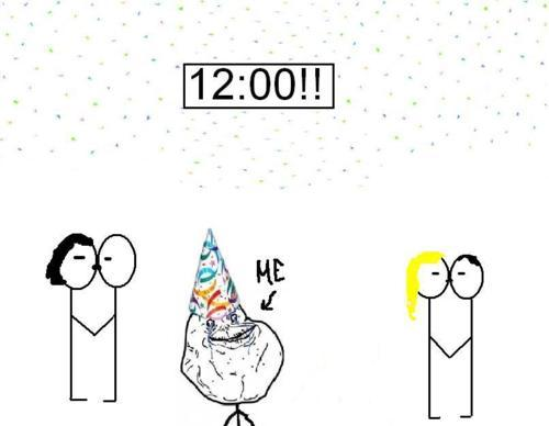 2012, boy, forever alone, funny, girl, kiss, love, meme, new year, new years eve