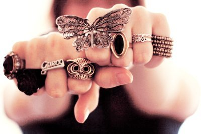 a lot of rings, butterfly, girl, jewelry, owl, rings