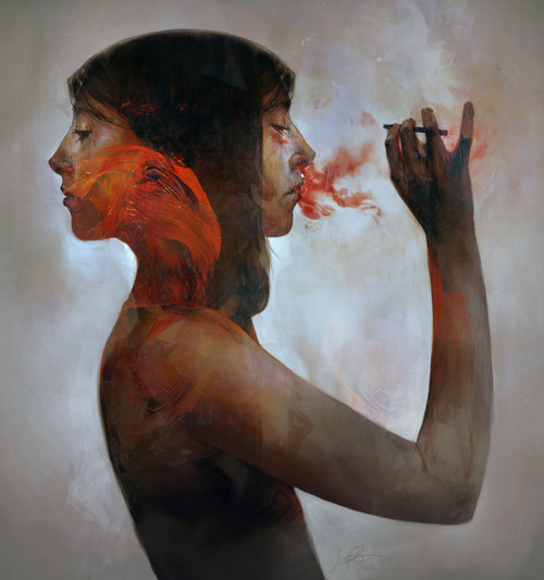 abstract, art, character, cigarette, clot, contemporary, digital art, girl, illustration, jeff simpson, painting, pretty, rough, sketch, smoking