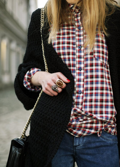 accessories, bag, beautiful, blonde, checked, checkered, fashion, girl, hair, jeans, jewelry, pretty, ring, rings, shirt
