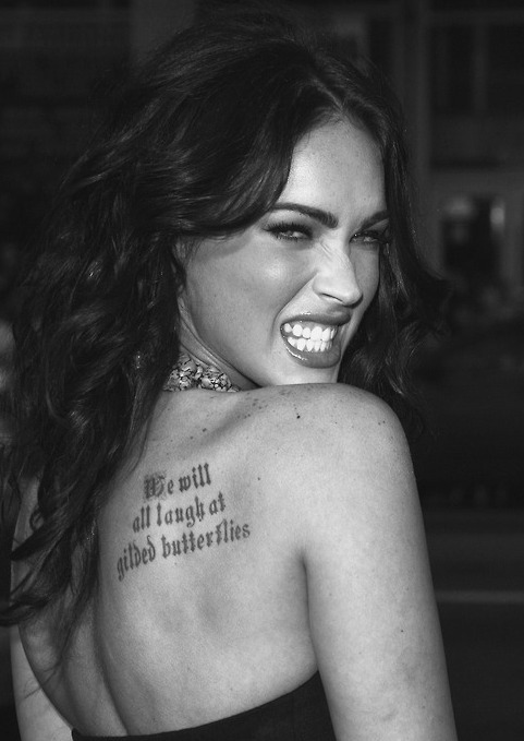 actress, amazing, beautiful, beautiful hair, black and white, famous, gorgeous, hair, lips, long hair, megan fox, sexy, tattoo, teeth