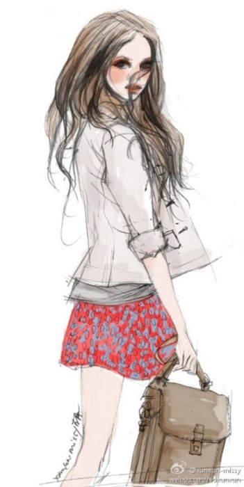 adorable, amazing, art, bag, beautiful, beauty, cool, creative, cute, designer, draw, drawing, eyes, fashion, girl, hair, illustration, jacket, lineart, model, pretty, skirt