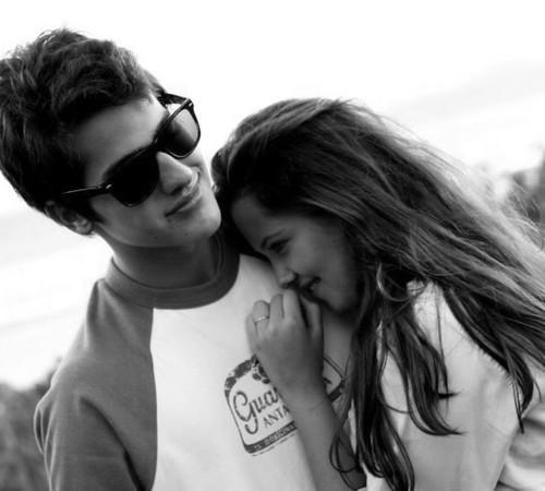 adorable, aww, beautiful, black and white, brunette, couple, cute, girl, glasses, hair, hair style, hapiness, love, lovely, lover or loser, photography, smile