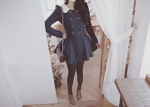 adorable, bag, black, blue, dress, fashion, hair, hands, jacket, legs, pretty, shoes, style