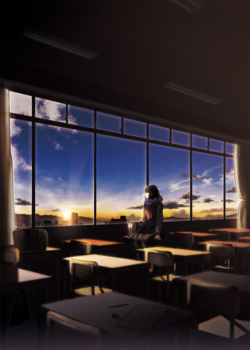 afternoon, alone, anime, classroom, clouds