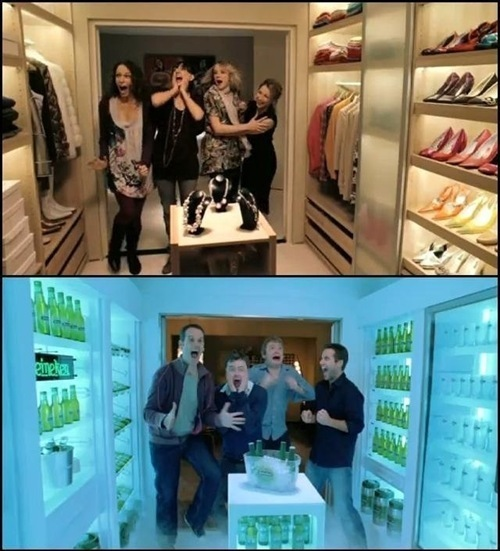 alcohol, beer, clothes, excited, fridge, fun, funny, happy, laugh, lol, man, men, shoes, smile, trol, walk-in wardrobe, walking wardrobe, wardrobe, woman, women