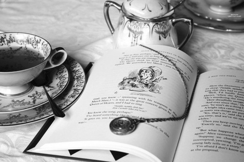 alice, alice in wonderland, b&w, beautiful, black & white, black and white, book, cup, cute, photo, photography, tea