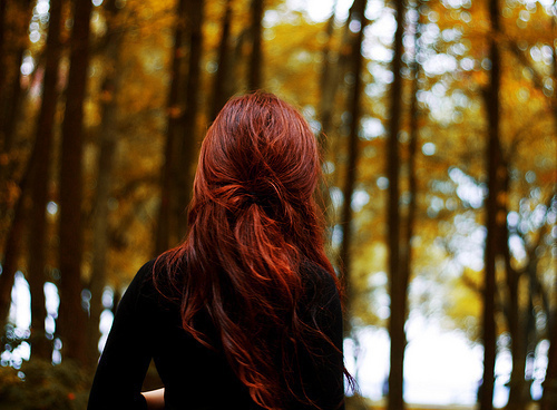 alone, awesome, beautiful, cool, cute, forest, freedom, ginger, girl, hair, hairstyle, hippie, photo, pretty, red, tree, vintage
