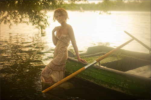 alone, boat, cool, cute, dress, fantasy, fashion, forest, girl, green, hair, lake, photography, pretty, water