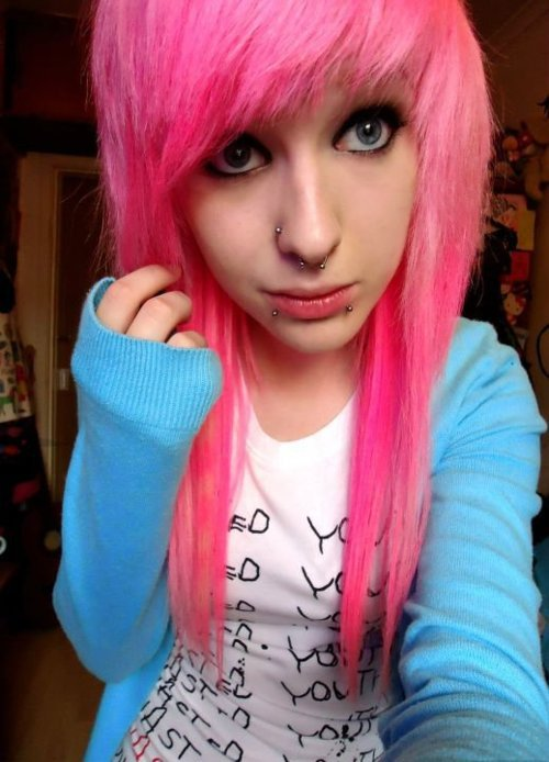 alternative, beautiful, colored hair, colorful, colorful hair, coloured hair, cute, dye, dyed hair, girl, gorgeous, hair, hairstyle, makeup, piercings, pink, pink hair, scene hair, septum