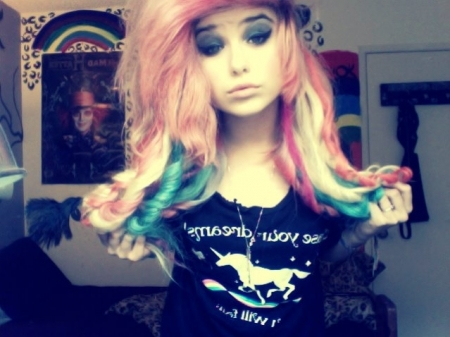 alternative, beautiful, colour, cute, girl, gorgeous, hair, pretty, rainbow, room, scene
