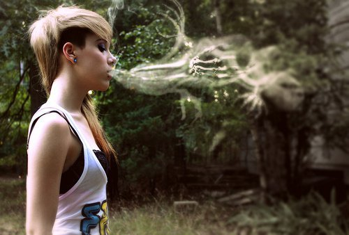 alternative, blonde, cute, girl, indie, pretty, scene, smoke