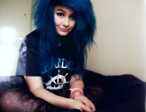 alternative, blue, blue hair, colored hair, colorful, colorful hair, coloured hair, cute, dye, dyed hair, girl, gorgeous, hair, hairstyle, makeup, piercings, scene hair, septum, t-shirt, tights