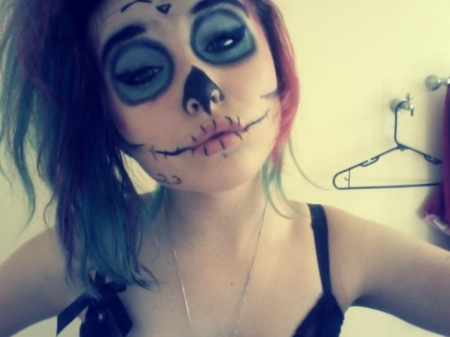 alternative, draw, girls, gorgeous, hair, make up, scene, skull