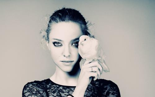 amanda seyfried, bird, black & white, photography, pretty