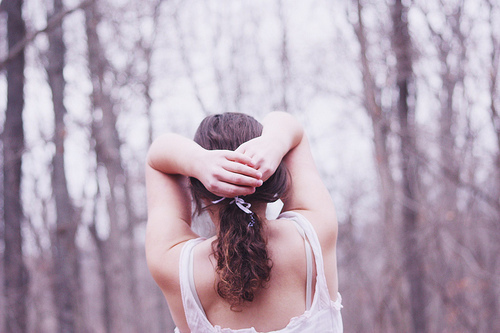amazing, arms, back, beautiful, brown hair, brunette, forest, girl, gorgeous, hands, nature, nice, photography, trees