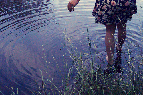 amazing, beautiful, dress, floral, flowers, girl, grass, legs, nature, photography, reflection, river, skinny, water