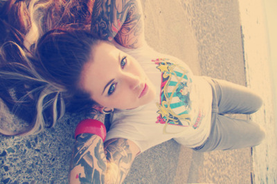 amazing, blue eyes, brunette, cute, girl, gorgeous, hair, inked, inked girl, pretty, tattoo, tattoos