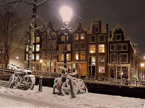 amsterdam, city, dutch, holland, snow