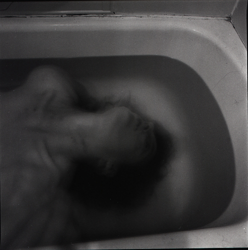 angst, bathtub, black and white, bones, clavicles
