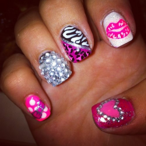 animal, animal print, cool, cute, glitter, hot, lips, nails, pretty, print, purple, sexy
