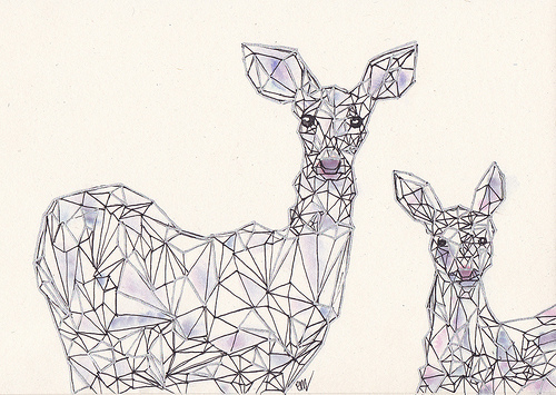 animal, deer, drawing and hipster