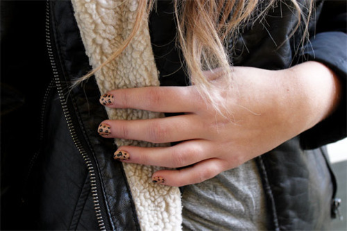 animal print, black, detail, fashion, fingers, hand, jacket, leather, leather jacket, nail polish, nails, photography, style, top