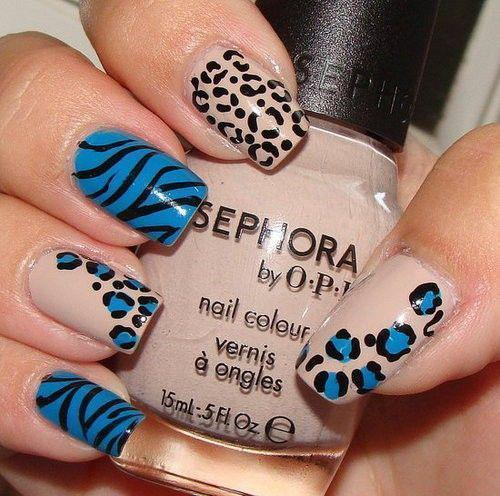 animal print, blue, fashion, gabica, girl, nails, photography
