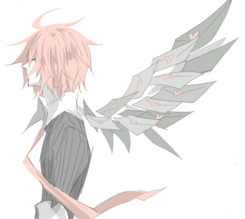 anime, art, beautiful, boy, cute, guy, heart, hot, letter, love, pink, pink hair, pretty, sexy, style, vy2, wings, yuuma