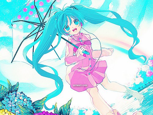 anime, art, blonde, blue, girl, green, hair, hatsune, hatsune miku, manga, miku, rainbow, smile, tokyo, umbrella, vocaloid