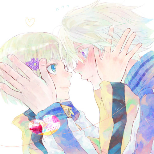 anime boy, anime couple, anime girl, blond, cute, ivan karelin, paolin huan, t&b, tiger and bunny, tiger&bunny