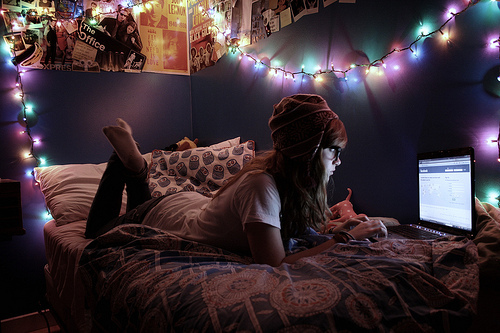 apple, beanie, bed, bedroom, brunette