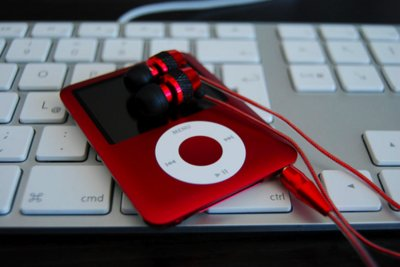 apple, ipod, keyboard, music, red