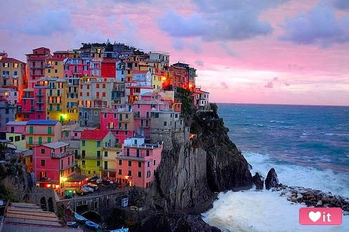 architecture, blue, bluff, buildings, city, cliff, colorfull, colors, cute, green, icen cream, lights, misato, ocean, pink, red, rocks, sea, seaside, surf, village, water, yellow