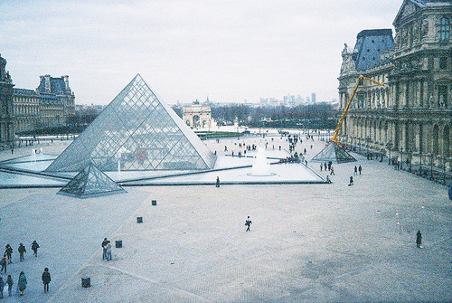 architecture, museum, paris, photo, pyramide, snow, view, vintage, winter