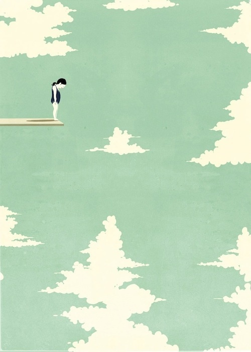 art, artistic, blue, design, drawing, girl, graphics, imagination, interesting, nice, skies, sky, surreal, sweet, swimming