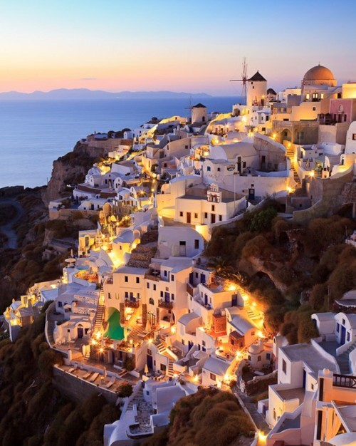art, beautiful, blue, city, cute, greece, hills, house, island, lights, luxury, nice, night, ocean, santorini, sea, sky, vintage, white