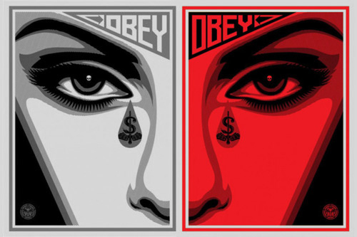 art, black and white, brand, draw, eyes, grey, nice, obey, red