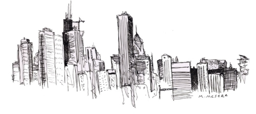 art, black, buildings, city, drawing