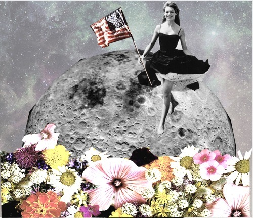 art, collage, dress, flag, flowers, funny, girl, modern art, modern collage, moon, photoshop, space
