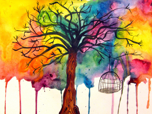 art, paint, tree