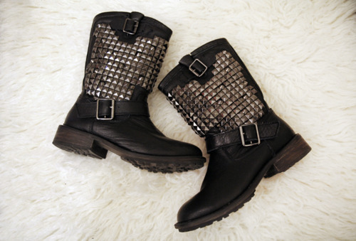 ash, biker boots, boots, shoes, studded