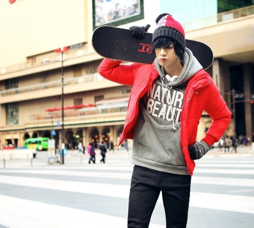 asian, boy, cute, korean, korean boy, red coat, ulzzang