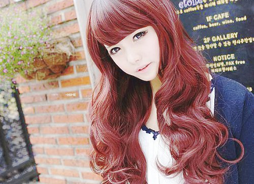 asian, cute, fashion, girl, hair, kawaii, korean, pretty, red, uljjang, ulzzang, uzzlang
