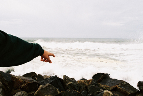 awesome, beautiful, boy, cute, filmgrain, grain, hipster, indie, land, landscape, occean, point, sea, stones, waves, white