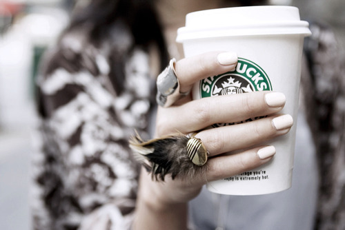 awesome, coffe, cute, fashion, girl, nails, pretty, ring, starbucks, white