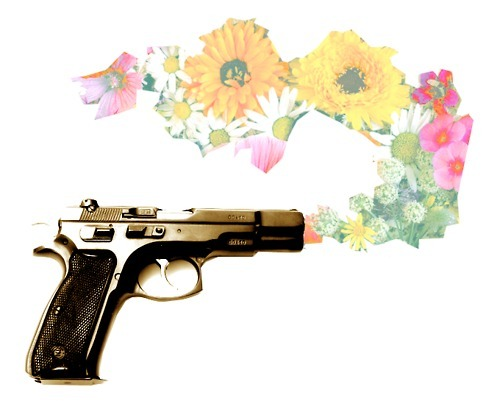awesome, collage, cool, flower, flowers, gun, nice, summer